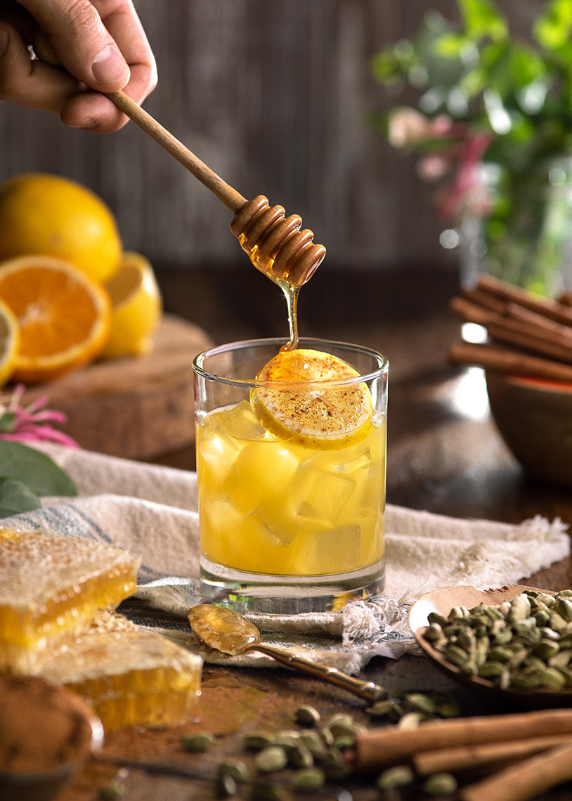 Styled Product Photo by Jason Risner of Deep Eddy Honey Cocktail