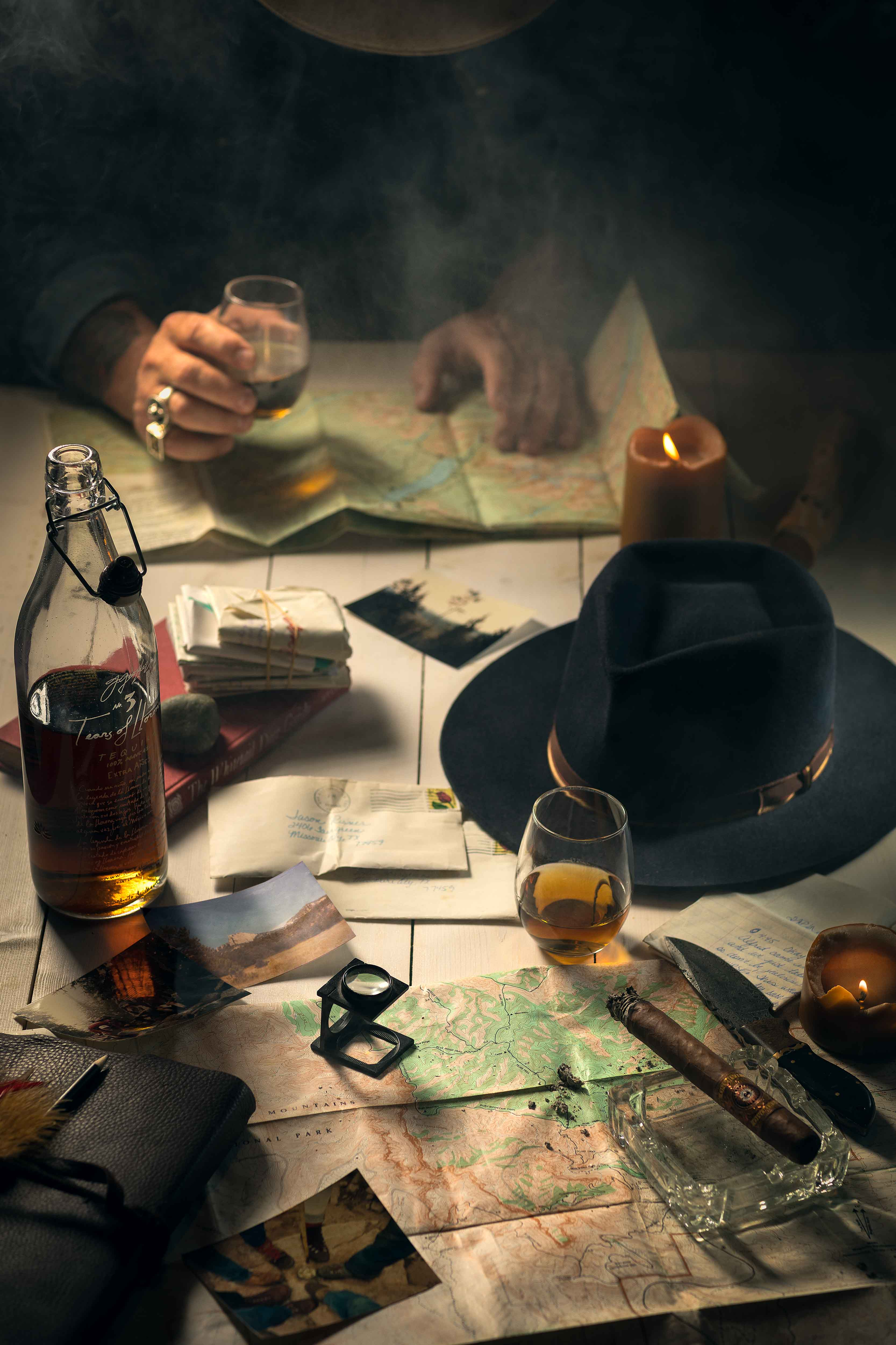 Jason Risner Lifestyle Photo of Hat Cigar and Tequila on Table