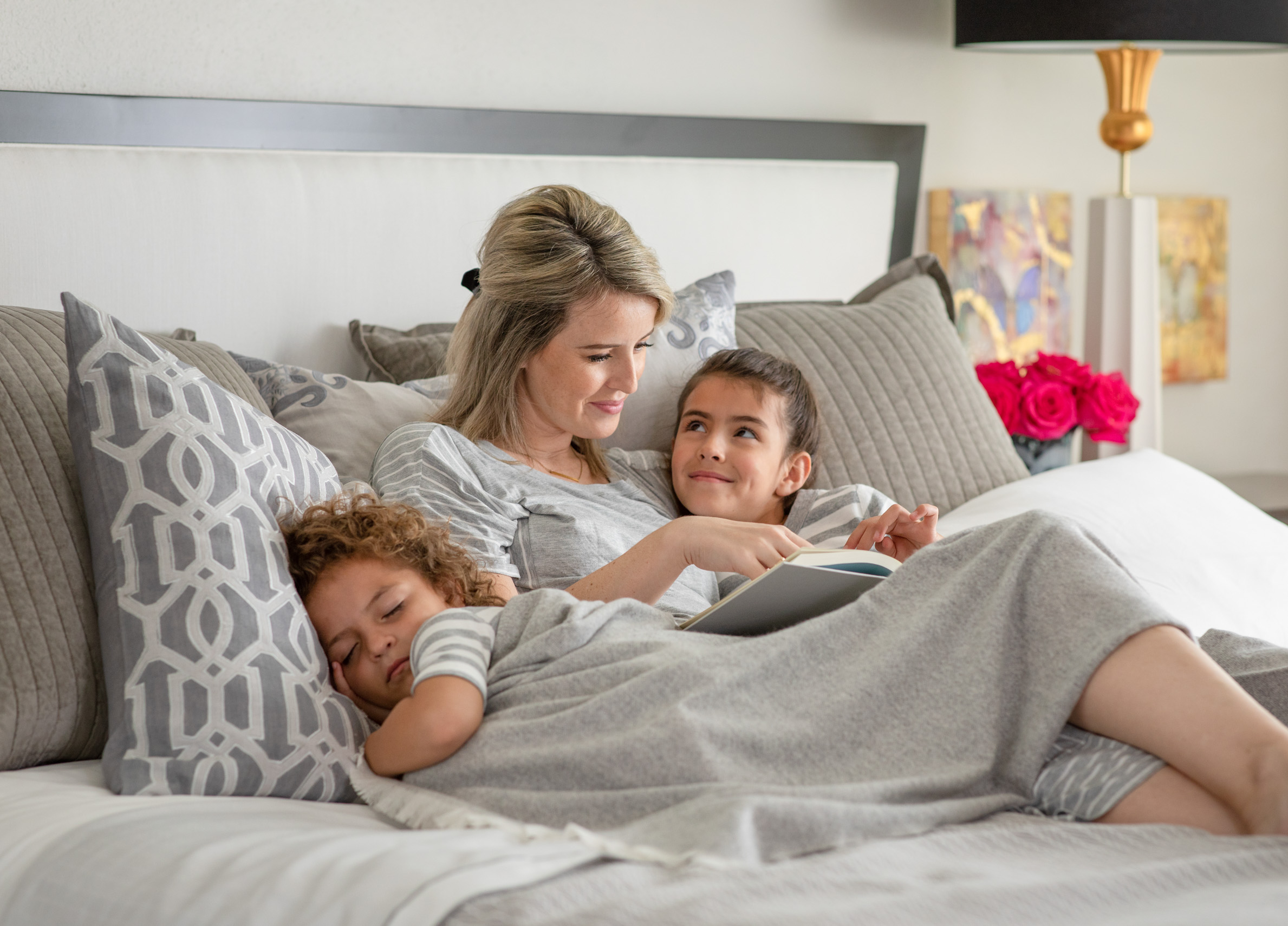 Lifestyle Product Photo of a Family in Lili Alessandra Bedding by Jason Risner